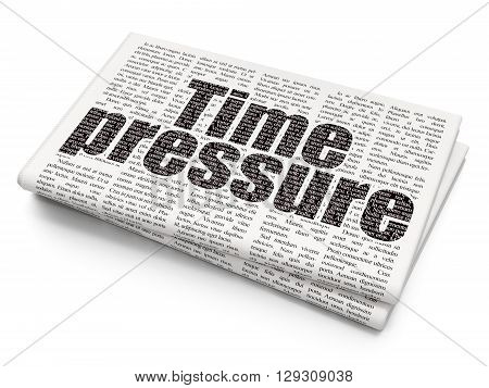 Time concept: Pixelated black text Time Pressure on Newspaper background, 3D rendering