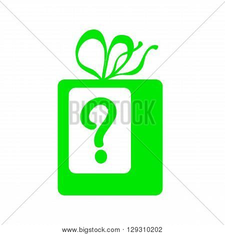 Green present with question mark vector icon, gift with ribbons vector illustration for birthday, gift for Christmas, present for new year, present with ribbons vector frame, wrapped present box icon