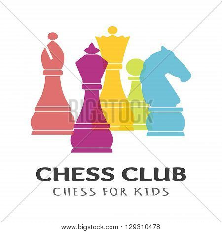 Chess pieces business sign & corporate identity template for Chess club or Chess school. Standard chess pieces vector icon set. Colorful chess vector illustration. Sample text. Editable.