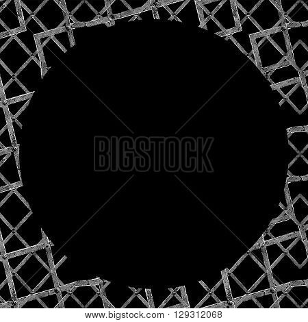 Black Background With Geometric Grunge Texture Borders