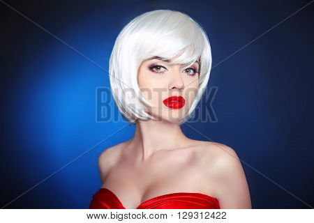 Beauty Makeup. Short Hairstyle. White Bob Hair Style. Blonde Young Sensual Woman With Red Lips Isola
