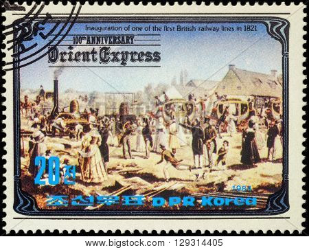 MOSCOW RUSSIA - MAY 10 2016: A stamp printed in North Korea shows Inauguration of the first British railway line in 1821 series