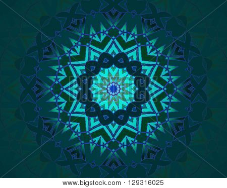 Abstract geometric seamless background, drawing. Concentric circle ornament in star shape with turquoise, blue, violet and purple elements on dark green, ornate and conspicuous, centered and blurred.