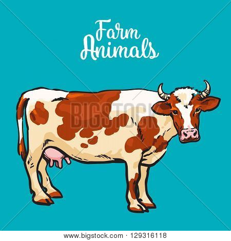 sketch of a cow on a blue background one isolated hoofed animal, farm cattle. Domestic cattle, linear illustration of a horned cow and dairy,