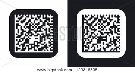 Vector datamatrix icon. Two-tone version on black and white background