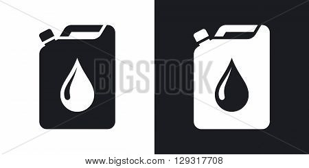 Oil jerrycan icon vector. Two-tone version on black and white background
