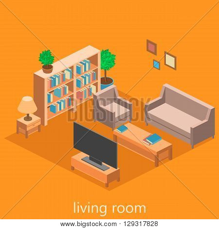 isometric interior of a  living room. Flat 3d illustration.
