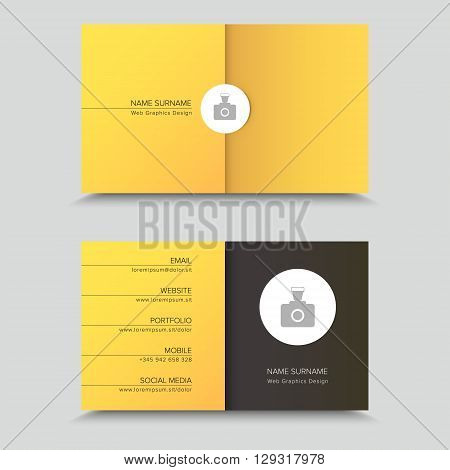 Vector Visit Card. Business Card Template Design with photo.
