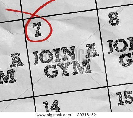 Concept image of a Calendar with the text: Join a Gym