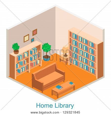 Isometric Interior Home Library