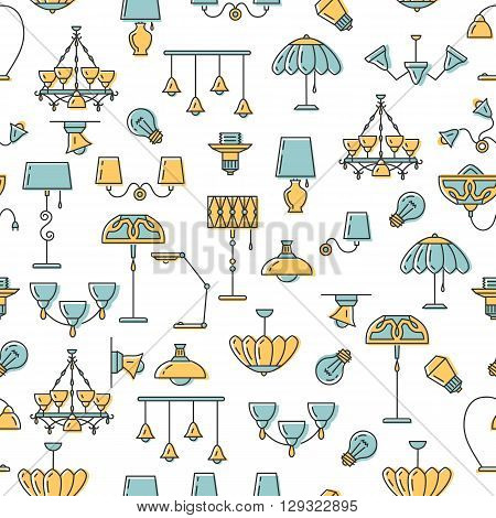 Seamless pattern outline lamp icon set, thin line style, flat design in yellow and blue color. Lamp vector illustration: wall lamp, desk lamp, floor lamp, chandelier, decorate lamp