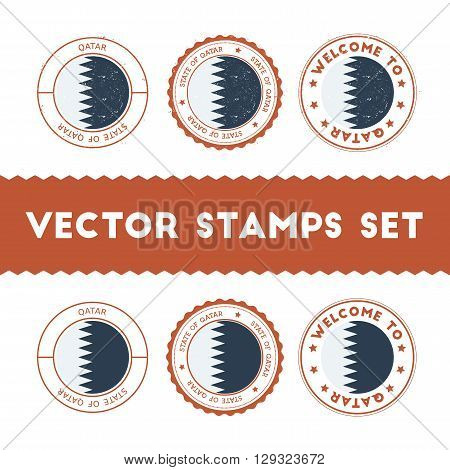 Qatari Flag Rubber Stamps Set. National Flags Grunge Stamps. Country Round Badges Collection.