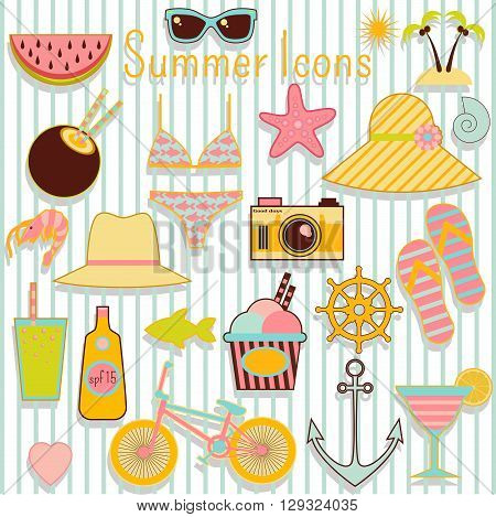 Summer icons flat vector set with different summer ans vacation symbols like sunglasses, phtocamera, hat and other