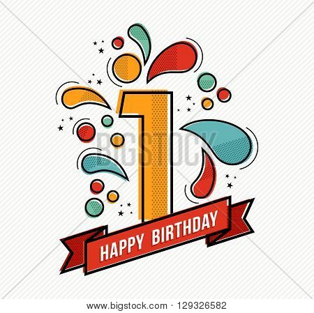 Colorful Happy Birthday Number 1 Flat Line Design