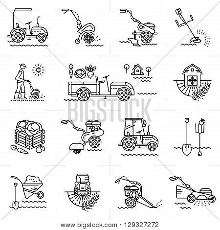 Line icons art of agriculture agricultural machinery garden tools. Gardening equipment: tillers, cultivators, mini tractor. A set of colorful line icons on a theme: agriculture, farming, tillage