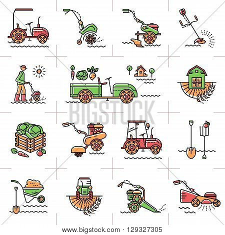 Agriculture, agricultural machinery, garden tools, Gardening equipment: tillers cultivators mini tractor. A set of colorful line icons art on a theme: agriculture, farming, tillage, soil cultivation