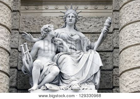VIENNA, AUSTRIA - DECEMBER 10: Europa, statues depicting personifications of the various continents. Naturhistorisches Museum, Vienna, Austria on December 10, 2011.