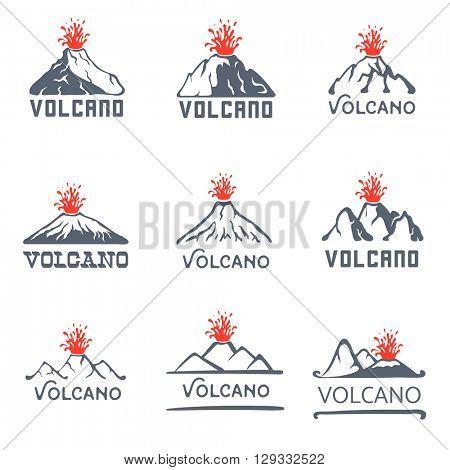 Volcano eruption logo set, vector icons illustration on white background