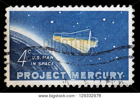 United States Used Postage Stamp Showing Project Mercury Capsule
