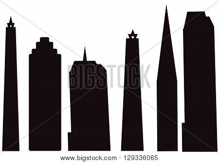 black silhouette city cut outs high rise city buildings isolated on a white background