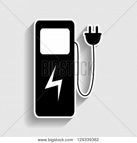 Electric car charging station sign. Sticker style icon with shadow on gray.