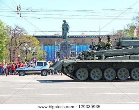 Moscow RUSSIA - MAY 9 2013: Military transportation on its back way after Victory Day Parade. For editorial use only.