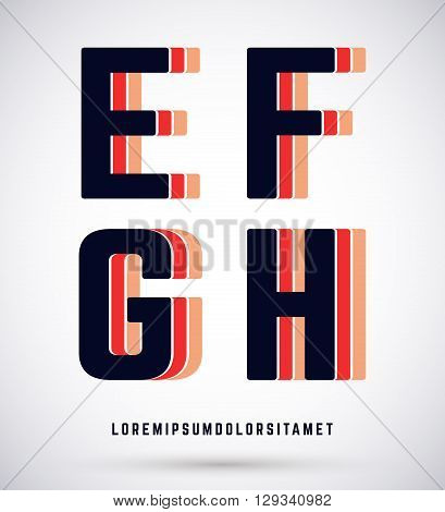 Set of typographic alphabet font template. Letters E F G H logo or icon. Vector illustration.