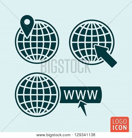 Globe icon. Globe with map pointer location mark internet sign. Vector illustration