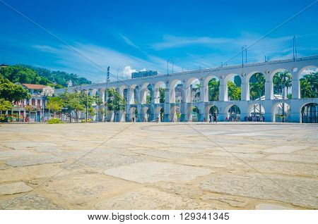 Rio De Janeiro, Brazil - March 06, 2016:  Landmark White Arches Of Arcos Da Lapa Under Bright Blue S