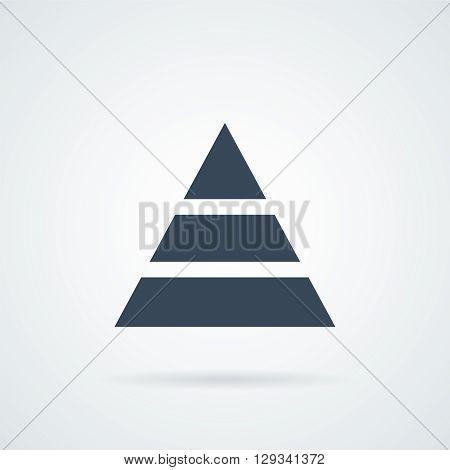 Vector flat pyramid icon wih a shadow