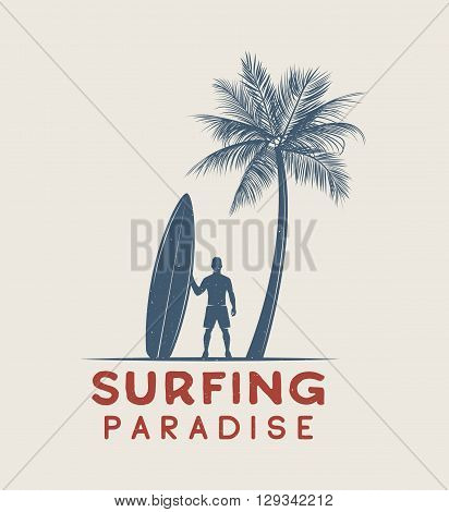 Vintage surfing logo emblem poster label or print with surfer and surfing board in retro style. Graphic Design. Vector Illustration