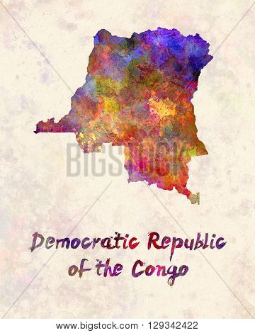 Democratic Republic of the Congo map in artistic and abstract watercolor
