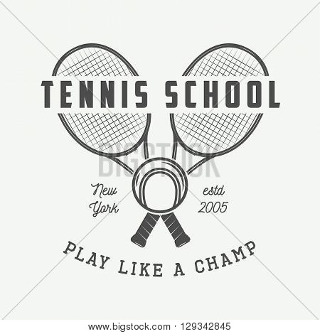 Vintage tennis logo badge emblem and much more. Vector Illustration