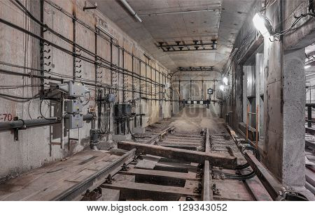 Railway deadlock in the underground tunnel subway