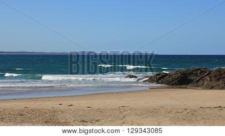 Nature background. Sandy beach in Port Macquarie Australia.