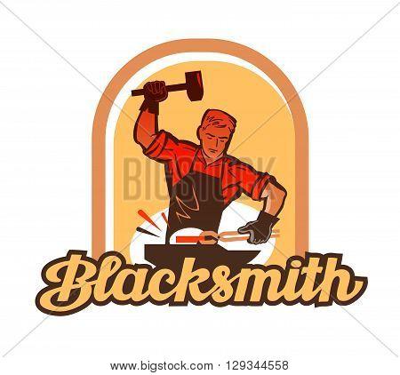 blacksmith worker with sledgehammer striking at anvil. vector illustration