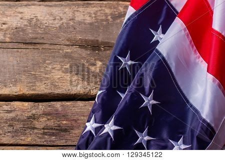 USA flag on wooden background. Flag on old wooden background. Pride and glory. Remember your roots.