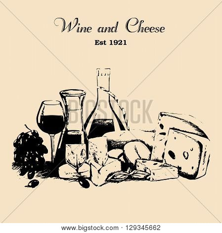 Hand draw vector vintage set of cheese and wine in grunge style.