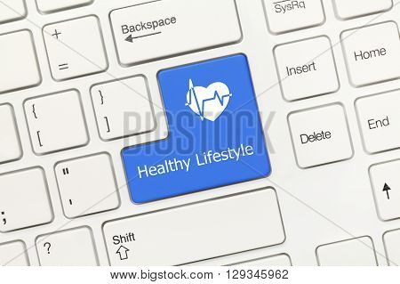 White Conceptual Keyboard - Healthy Lifestyle (blue Key)