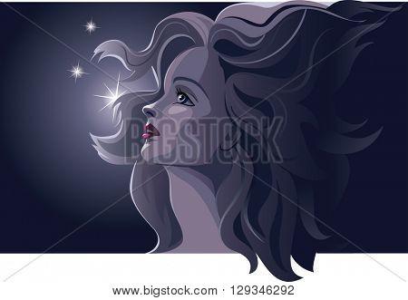 Beautiful romantic woman by night. Blonde, beautiful, profile. Dark blue colors. Vector illustration