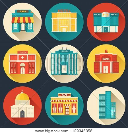 Flat Colorful Vector Sity Buildings Set. Icons Background Concep