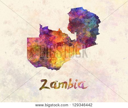 Zambia map in artistic and abstract watercolor