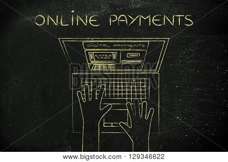 Automatic Teller Machine Inside Laptop Screen, Online Payments