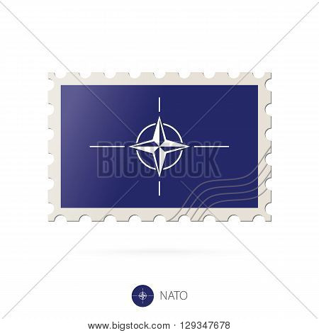 Postage Stamp With The Image Of Nato Flag.
