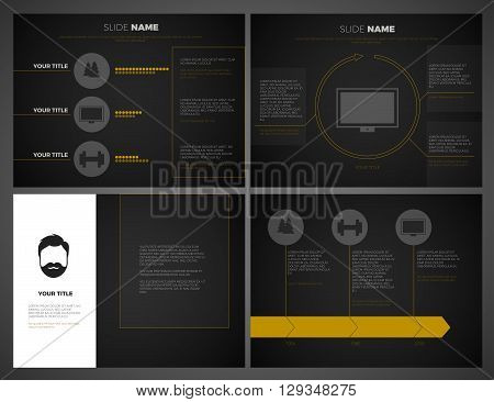 Business presentation Black template set. Powerpoint template design background. Editable vector slide templates modern dark design