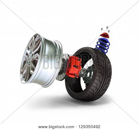 Concept Of Tire Service. Wheels, Rims , Brake Pads And Discs. Car Parts. Isolated On White Backgroun