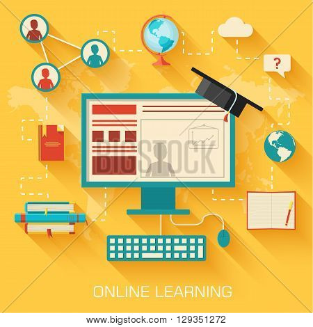 Online Learning Infographic Background Concept In Retro Flat St