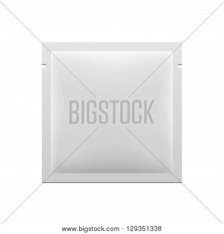 White Blank Retort Foil Pouch Packaging Medicine Drugs  Or Condom. Illustration Isolated On White Background. Mock Up Template Ready For Your Design. Vector EPS10