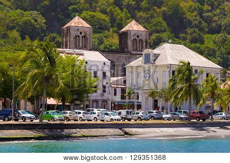 Saint Pierre town Martinique island French West indies-April 26 2016 : The harbor of caribbean Saint Pierre town located on Martinique island French West Indies.