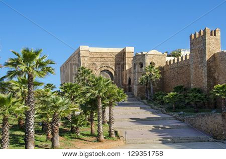 The Kasbah of the Udayas in Rabat Morocco located at the mouth of the Bou Regreg river opposite of Salé. - The south-west part of fortified wall with the Almohad gate Bab Oudaia